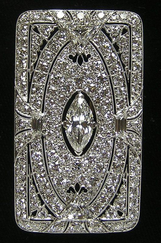 TIFFANY AND COMPANY  BROOCHES | RARE Art Deco Tiffany Co Platinum Diamond Brooch | Jewelry