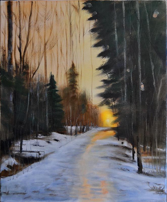 Peter Valve: The sunrise path in my neighbourhood forrest. Oil on canvas 38x46 cm, 2017.