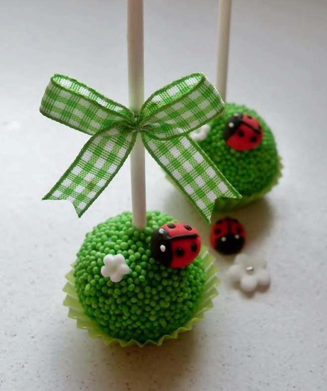 Cutest #cakepops #ladybug #ladybird  By: My Love for Macarons, Cupcakes, and Cakes