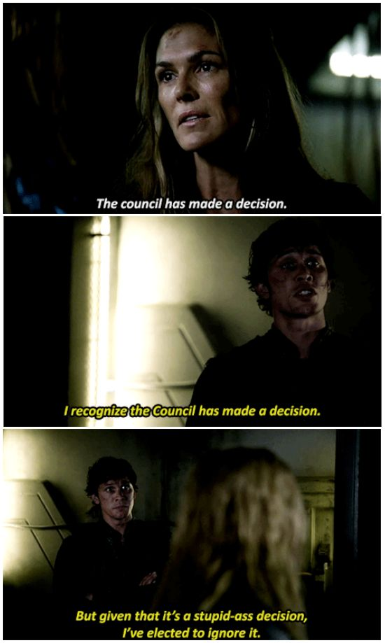 Bellamy Blake channeling his inner Nick Fury. || The 100 season 2 episode 5 - Human Trials || Bellamy Blake, Abby Griffin and Clarke Griffin || Tumblr - jinglebellamyrock || Bob Morley, Paige Turco and Eliza Jane Taylor || The 100 & The Avengers