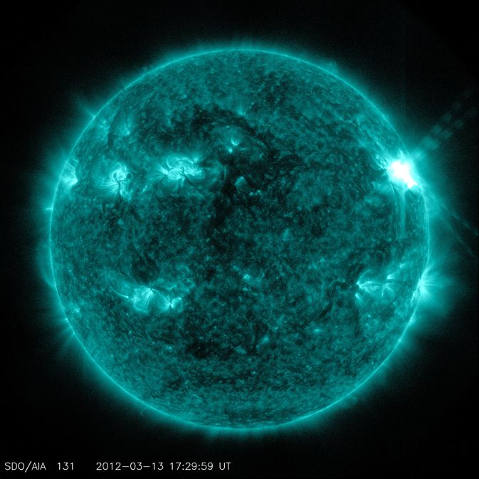 On March 13, 2012, the sun erupted with an M7.9-class flare that peaked at 1:41 p.m. EDT. This flare was from the same active region, No. 1429, that has been producing flares and coronal mass ejections all week. That region has been moving across the face of the sun since March 2, and will soon rotate out of Earth view.