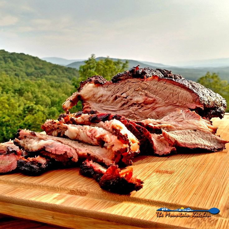 "The Mountain Kitchen Beef Brisket | The goal to a well cooked beef brisket is a thick moist slab of meat, with a crusty ""bark"", a vivid smoke ring, and meat so smoky, you nearly gorge yourself into a food comma. 