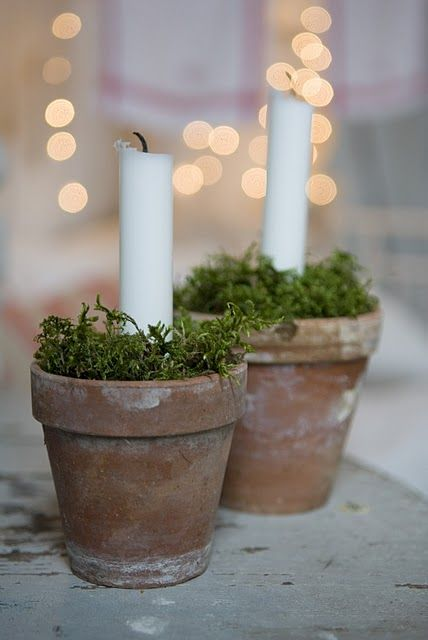 Great Idea for a rustic,casual,  table setting. I adore clay pots with candles and greenery. Simply beautiful!