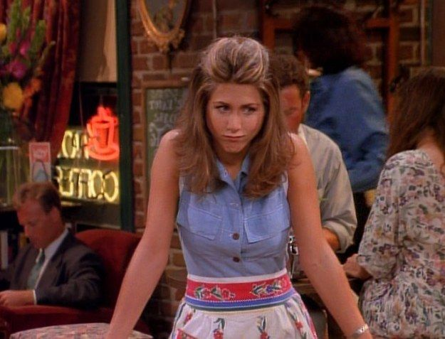 """All of Rachel Green's amazing outfits from the first season of Friends —""""I'm addicted to denim vests."""""""