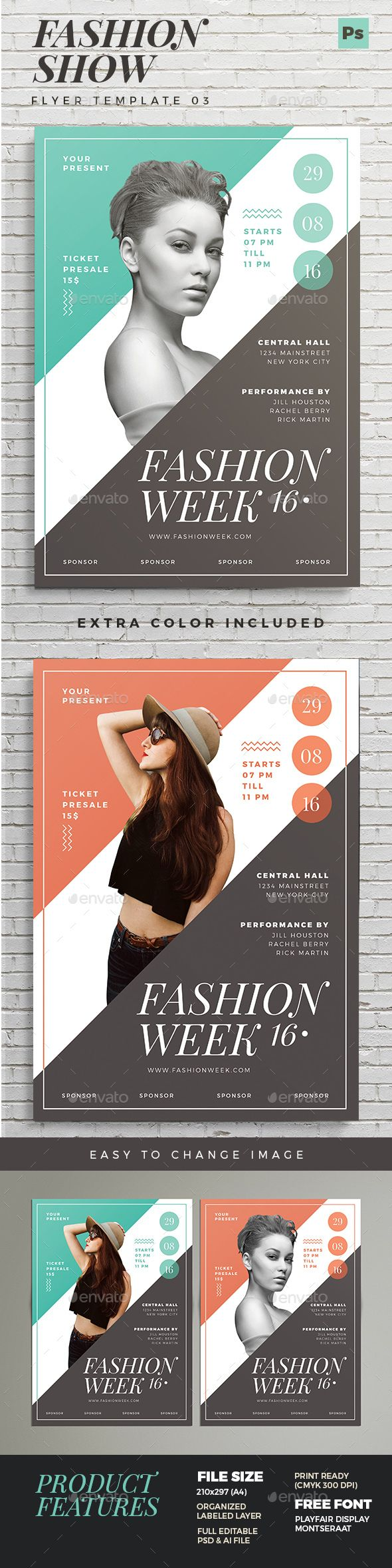 Fashion Show Flyer 03 — Photoshop PSD #fashion flyer #show • Available here → https://graphicriver.net/item/fashion-show-flyer-03/16703317?ref=pxcr
