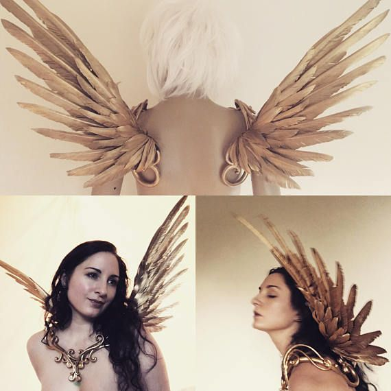 Icarus wings – gold winged colllar costume cosplay burning man party fantasy fairy wedding filigree baroque halloween