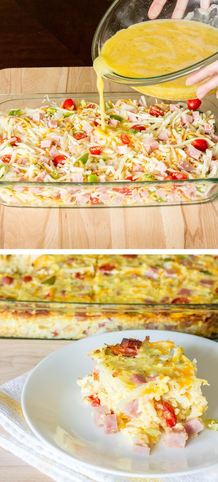 Easy Denver Omelet Hash Brown Casserole - Beaten eggs are poured over a mix of hash browns, ham, cheese, bell pepper, onion, and tomato; then baked.