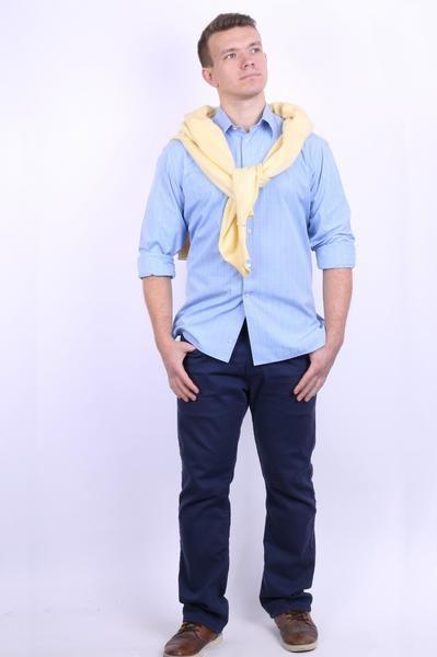 Prince of Wales Mens 42 16.5 XL Formal Shirt Check Blue Cotton Blue Cufflinks - RetrospectClothes