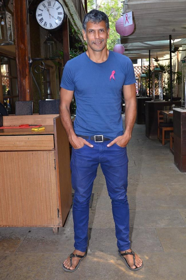 Milind Soman at a press meet held to celebrate 10,000 registrations for Pinkathon in Mumbai. #Bollywood #Style #Fashion #Handsome