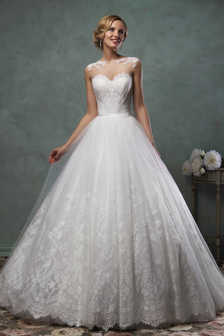 Romantic Tulle Lace Princess 2016 Wedding Dress Illusion Cap Sleeve_High Quality Wedding & Evening Prom Dresses at Factory Price-27DRESS.COM