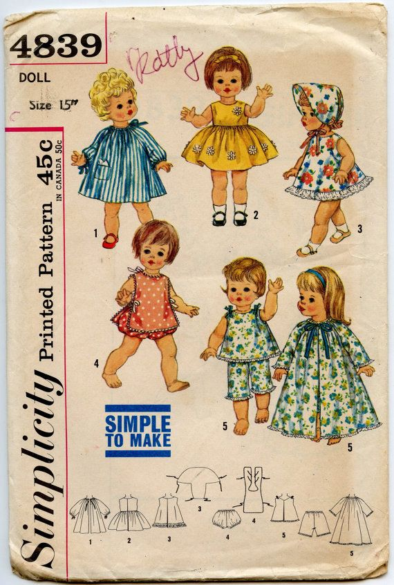 1960s Doll Clothes Pattern Simplicity 4839 Doll Clothes Wardrobe for 15 Inch Dolls Tiny Chatty Baby UNCUT
