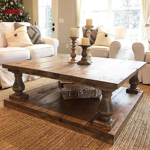 large square rustic baluster wide plank coffee table - Design Living Room Tables