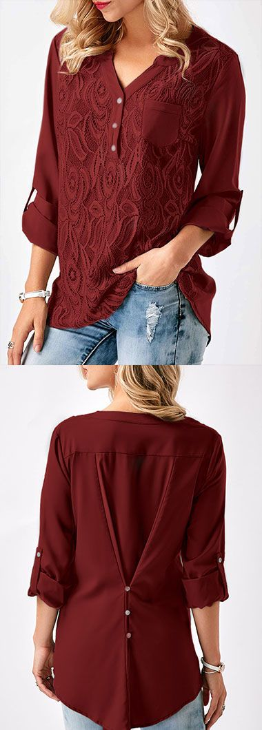 Asymmetric Hem Roll Tab Sleeve Lace Panel Blouse.