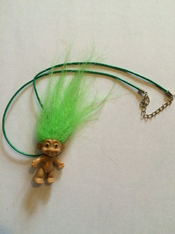 Green Haired Troll Necklace by ToyNecklaces on Etsy