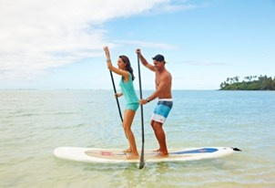 Bucket List Alert - Stand Up Paddle Boarding on Muri Lagoon at Pacific Resort Rarotonga, Cook Islands.