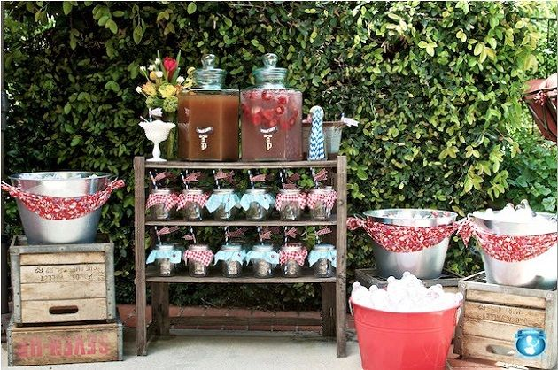 Picnic Baby Shower with a vintage country theme **Could recreate this, I've got 3 drink dispensers** S
