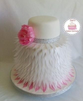 Wafer Paper Feather Wedding Cake  - Cake by Zee's Cake Corner