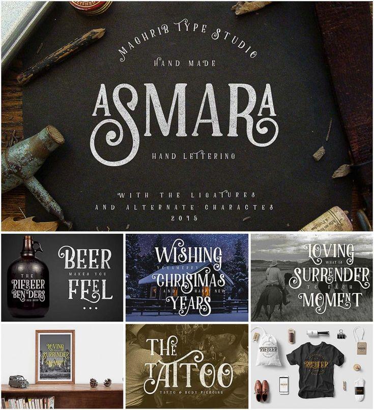 Description: Asmara type is a decorative-serif font ...