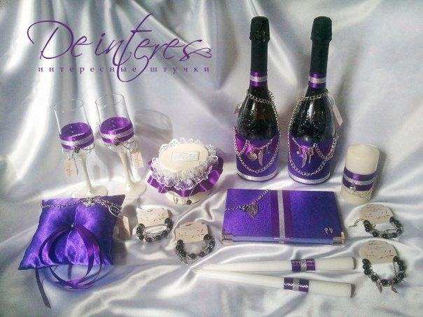 """Набор свадебных аксессуаров ( подушечка для колец, бокалы, шампанское, подвязка для невесты, семейный очаг (3 свечи), папка для свидетельства, браслеты подружкам невесты) в стиле """" Rock'n'Roll"""" для экстравагантной пары Михаила и Евгении. Wedding accessories.A set of wedding accessories ( ring pillow, goblets, champagne, garter for the bride, family (3 candles), the folder for the certificate, bracelets for the bridesmaids) in the style of """"Rock'n'roll"""""""