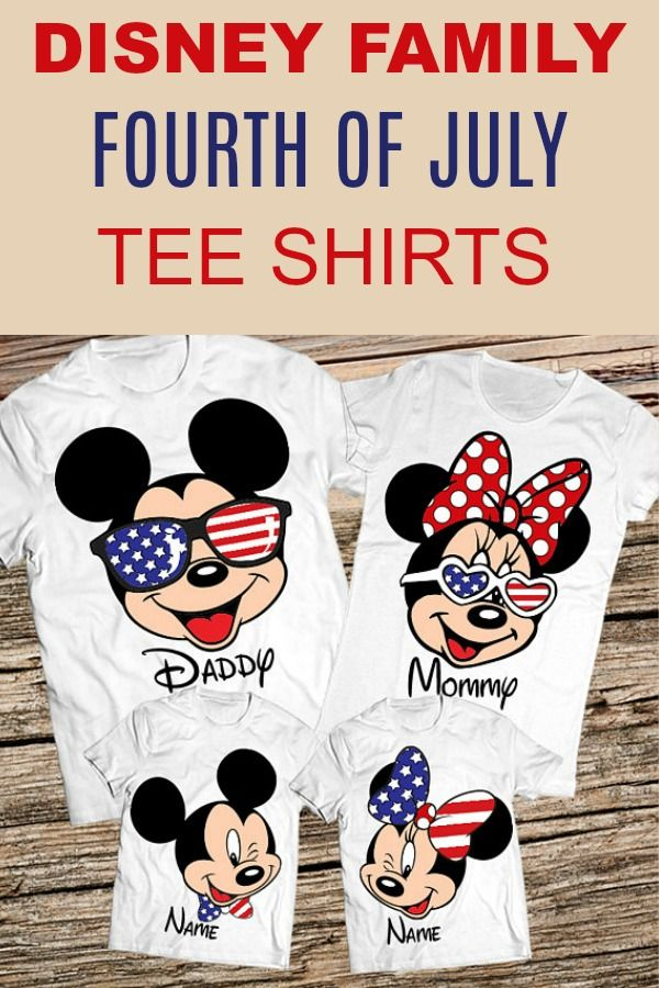 e8c2deb25b Clothes and accessories for Disney vacations -- Fourth of July matching T- Shirts for families! Mickey and Minnie Mouse in red, white, and blue.