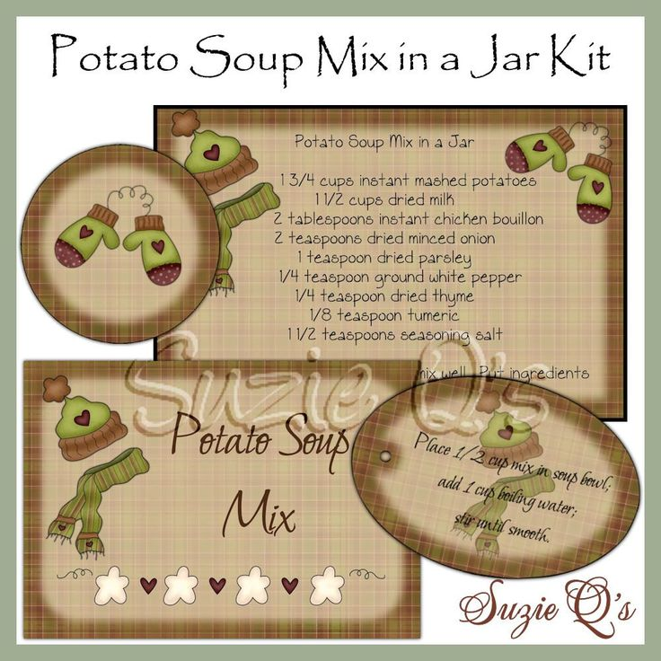 Make your own Potato Soup Mix in a Jar - Labels, Tag and Recipe - Digital Printable Kit - Great Gift Idea. $2.00, via Etsy.