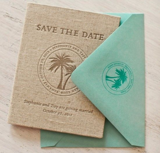 Stephanie + Trey's Tropical Passport Save the Dates | Design: Atheneum Creative | Letterpress Printing: Sideshow Press | Photo: Chelsea Davis Photography