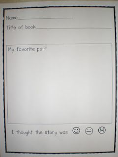 """Very simple book report form for younger children. (scroll down about 1/2 way, stop when you see the book, """"The Snowy Day"""" by Ezra Jack Keates. Click on the word """"here"""" in the sentence """"The page is from Mrs. Jump's blog, and can be found here."""" that is located just below the image of the form to go to free printable.)"""