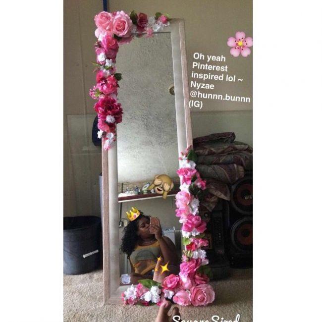 Cute Pretty Full Length Flower Mirror Pink Edition Flower Mirror