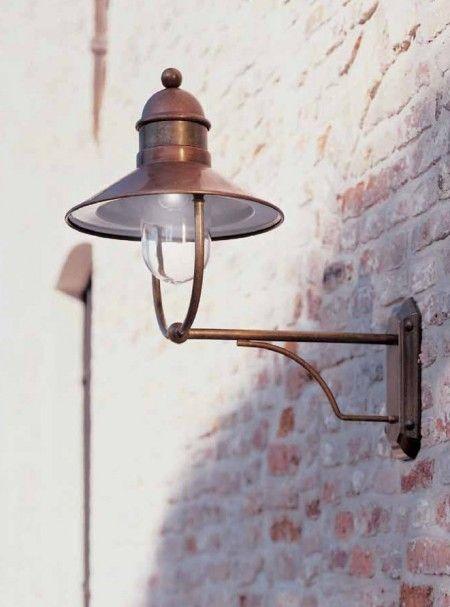 Authentieke buitenlamp koper