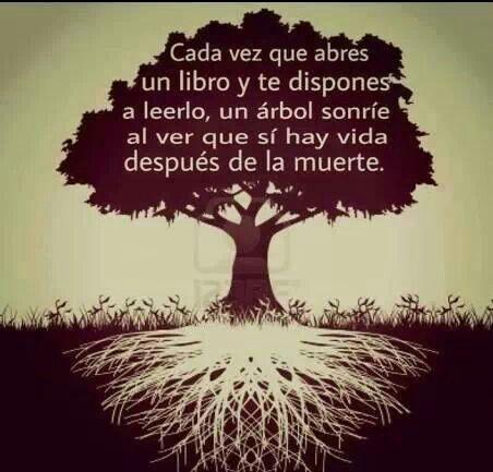 Cada vez que abres un libro e te pos a lelo, unha árbore sorrí aao ver que si hai vida despois da morte