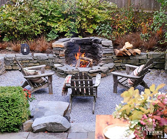 Build-in fire pit or outdoor wood oven idea for back patio.