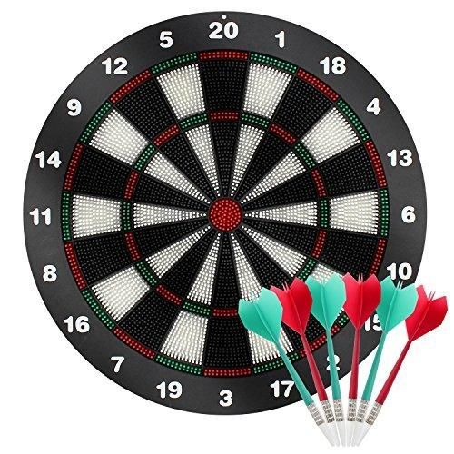 SySrion Dart Board with Soft Safety Darts - Great Games for Kids and Leisure Sport for Office-16 Inches