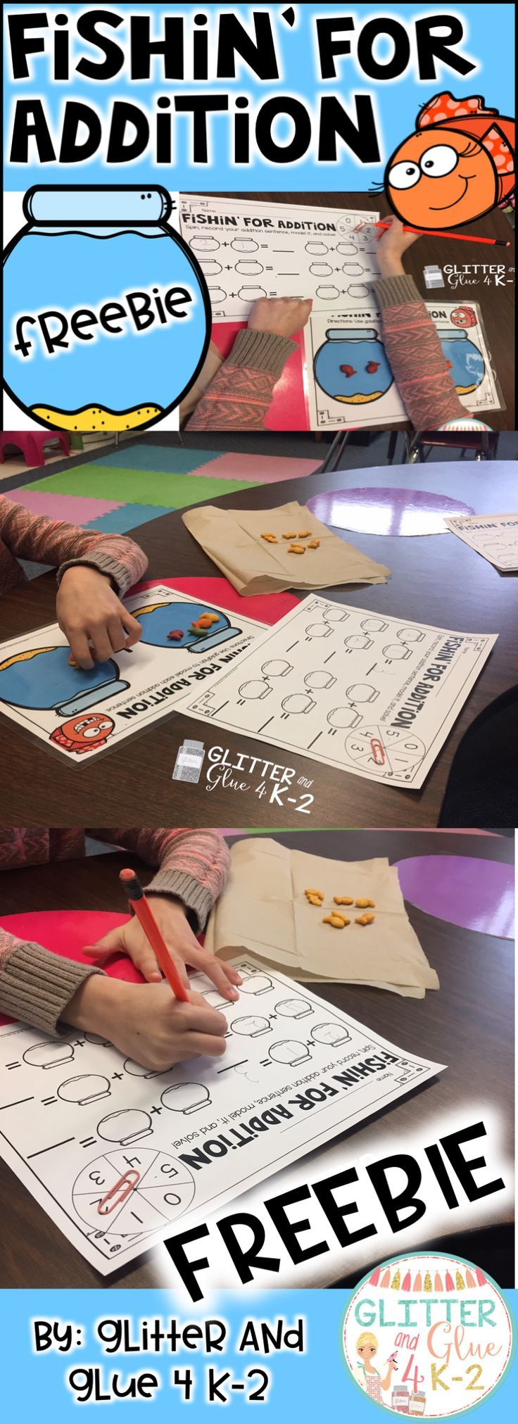 A fun way to teach addition for kindergarten and first grade! Use the goldfish crackers as manipualtives! This is a great way to teach students strategies and can be used as a fun intervention. Best of all this is free at Glitter and Glue 4 K-2's blog! Keywords: addition, kindergarten, first grade, intervention, math centers, adding, fun math, freebies, freebies for teachers.