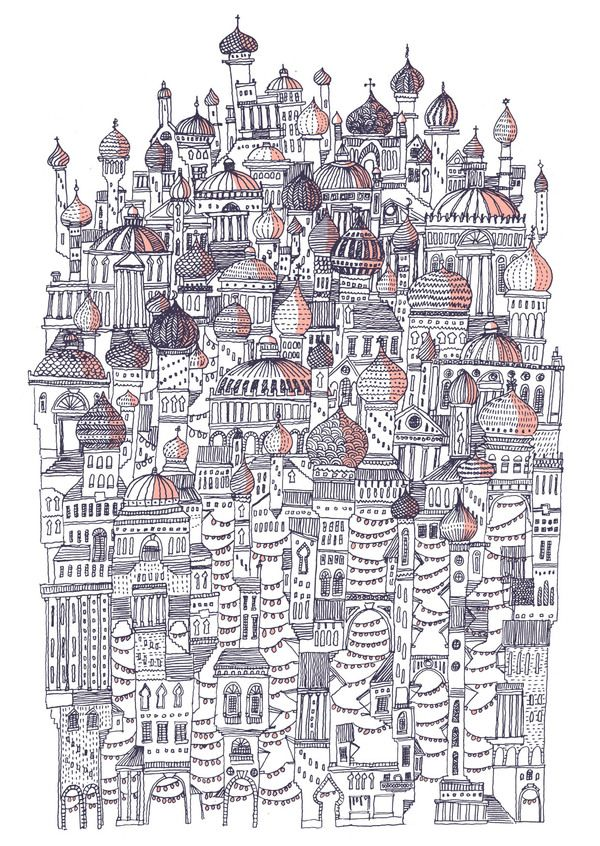 Invisible Cities by David Fleck, via Behance  An ongoing personal project to illustrate the book 'Invisible Cities' by Italo Calvino.