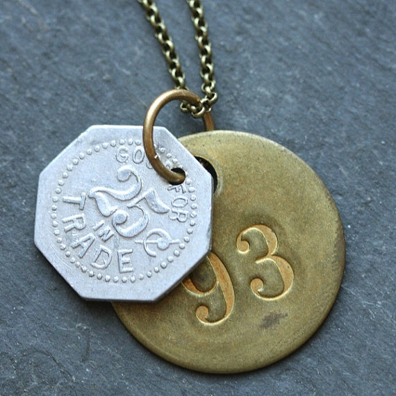 Tag Necklace with Vintage Tags for Men and Women by WishByFelicity, $32.00