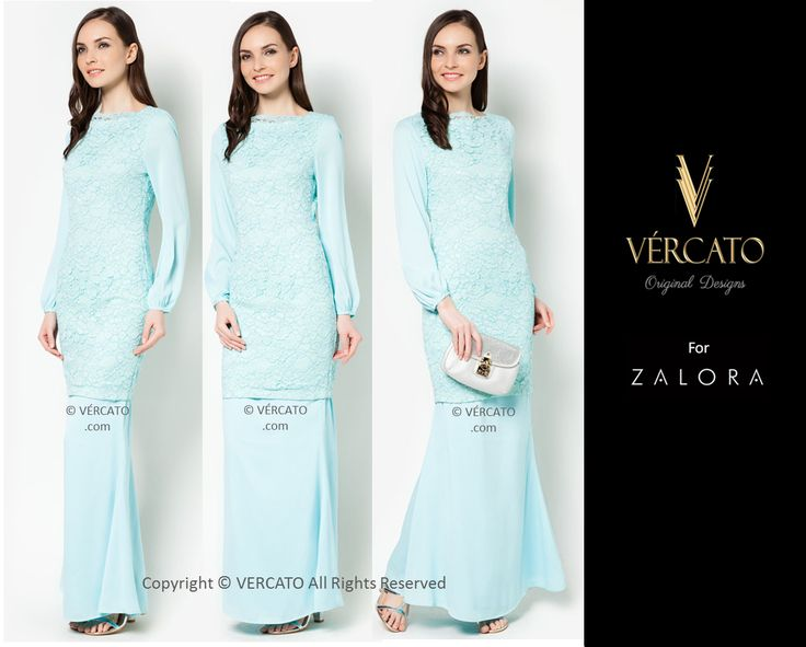 VERCATO (DEMI CHIFFON SLEEVES LACE KURUNG LIGHT BLUE): www.vercato.com