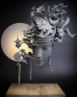 Sculpture by Yuanxing Liang.