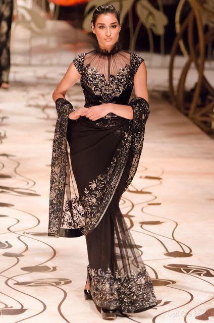 Unique blouse : Rohit Bal India Bridal Fashion Week 2013 The Mulmul Masquerade #saree #sari #blouse #indian #outfit  #shaadi #bridal #fashion #style #desi #designer #wedding #gorgeous #beautiful