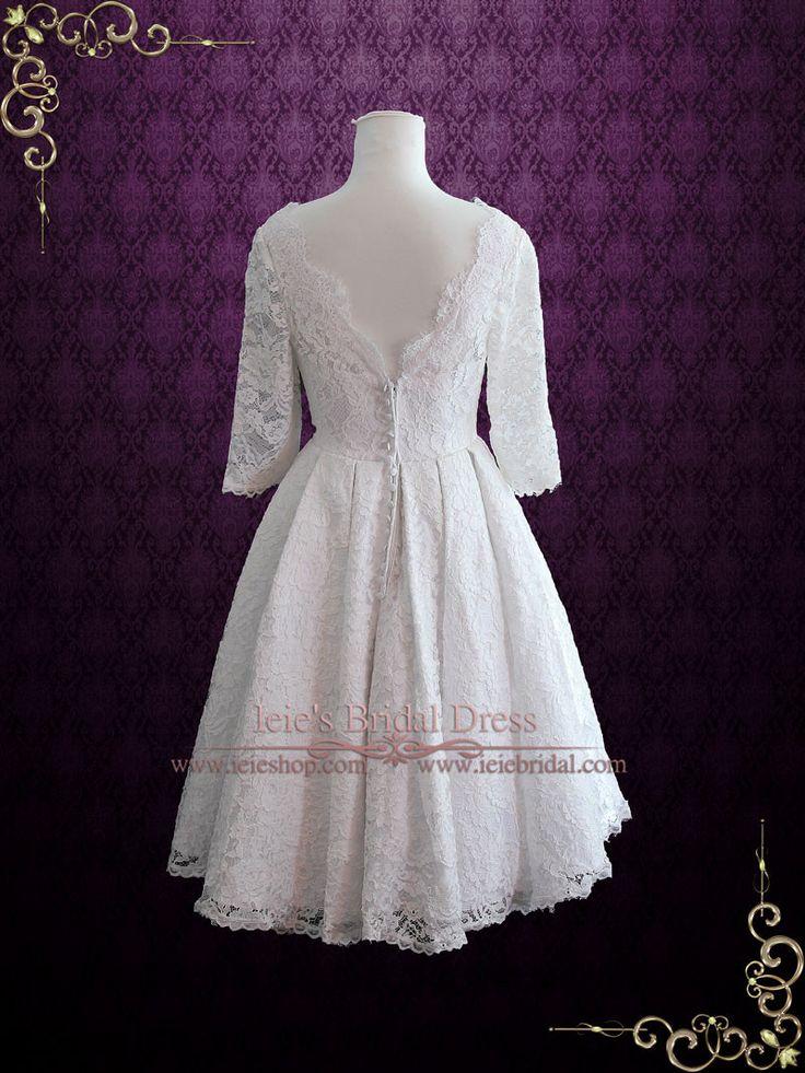 Vintage tea length pleated lace lolita wedding dress with for Vintage tea length lace wedding dress