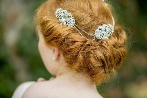 Diamante Double Drop Crystal Wedding Headpiece, Sam