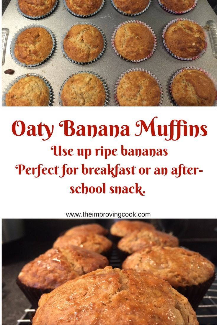 The Improving Cook- Oaty Banana Muffins. Use up ripe bananas to make these breakfast banana and oat muffins. they aren't too sweet so they are perfect for an after-school snack for children too.