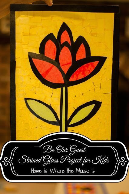 Beauty and the Beast DIY Stained Glass Project for Kids Craft inspired by Be Our Guest restaurant at Walt Disney World