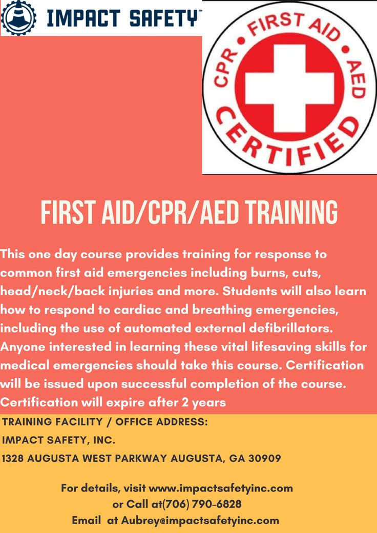 First Aid/CPR/AED $95 per student This one day course provides training for response to common first aid emergencies including burns, cuts, head/neck/back injuries and more. Students will also learn how to respond to cardiac and breathing emergencies, including the use of automated external defibrillators. Anyone interested in learning these vital lifesaving skills for medical emergencies should take this course.