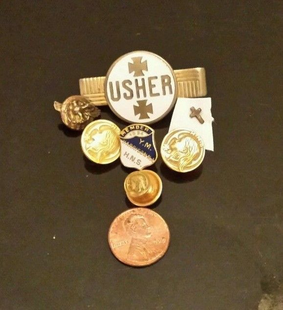 Holy Name Society vintage Catholic Pin Usher tie bar 1936 Metal Button LOT 8