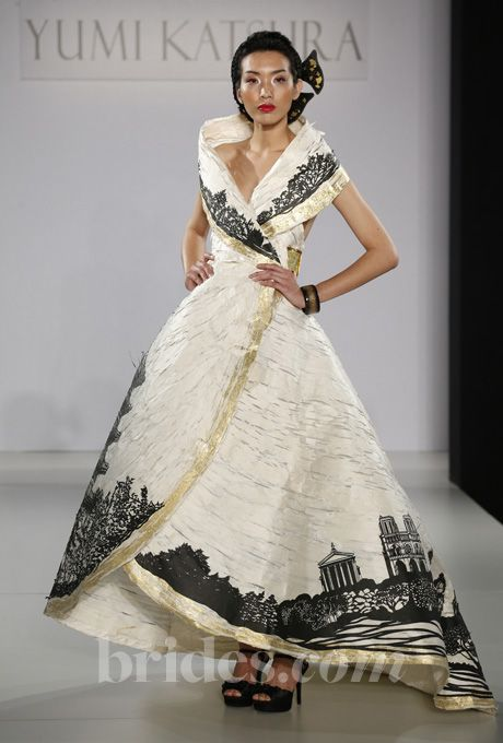 "Brides.com: Yumi Katsura - Fall 2013. ""Haute Couture Washi Paper"" ivory, gold, and black ball gown wedding dress, Yumi Katsura  (=)"