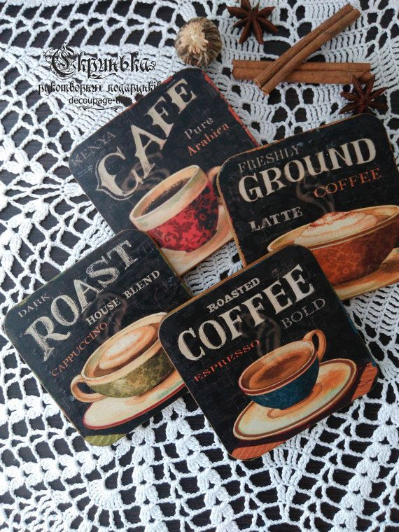 Coasters under the Cup.Decorative magnets.Wooden Fridge Magne