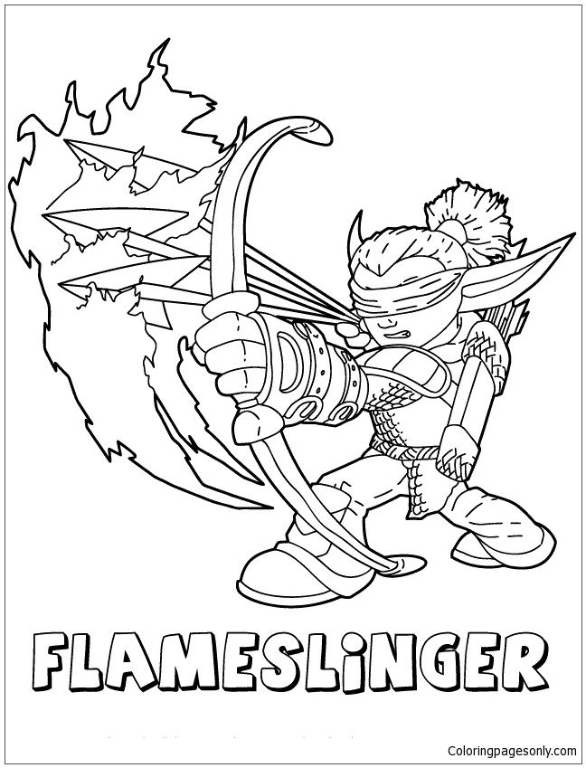 Skylanders Giants Fire Flameslinger Coloring Page With Images