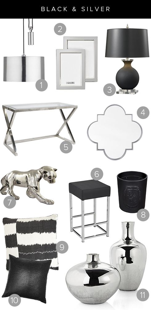 anything black in your home creates an instant classy, edgy feel. But with a few touches of silver, you can notch up a monochromatic room to...