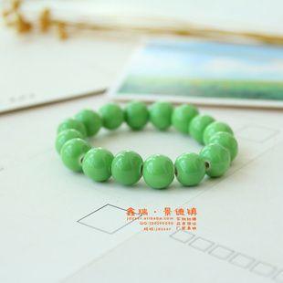 陶瓷饰品批发 粉嫩绿珠 满珠小手 手链 手制陶瓷 首饰