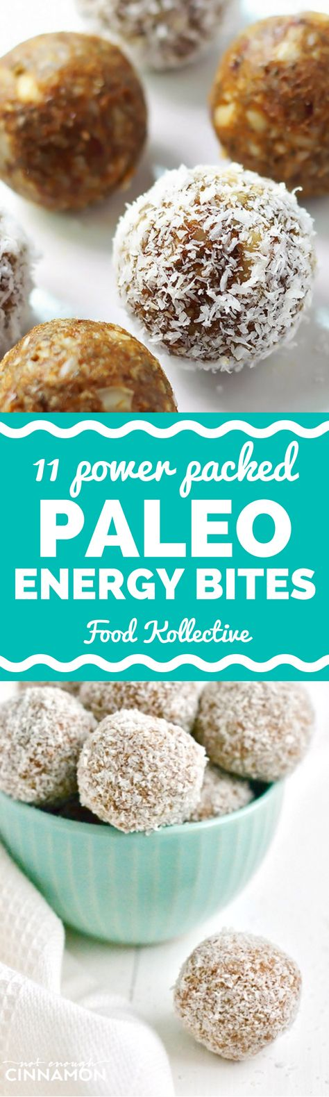 I was looking for no bake vegan Paleo energy bites and these look sooo good! They are also gluten free and packed with protein, so they'll give you the quick energy boost you need. There are recipes flavored like pumpkin pie, banana bread, chocolate brownies, and more. I can't wait to make these for a quick and easy healthy snack! Collected on FoodKollective.com